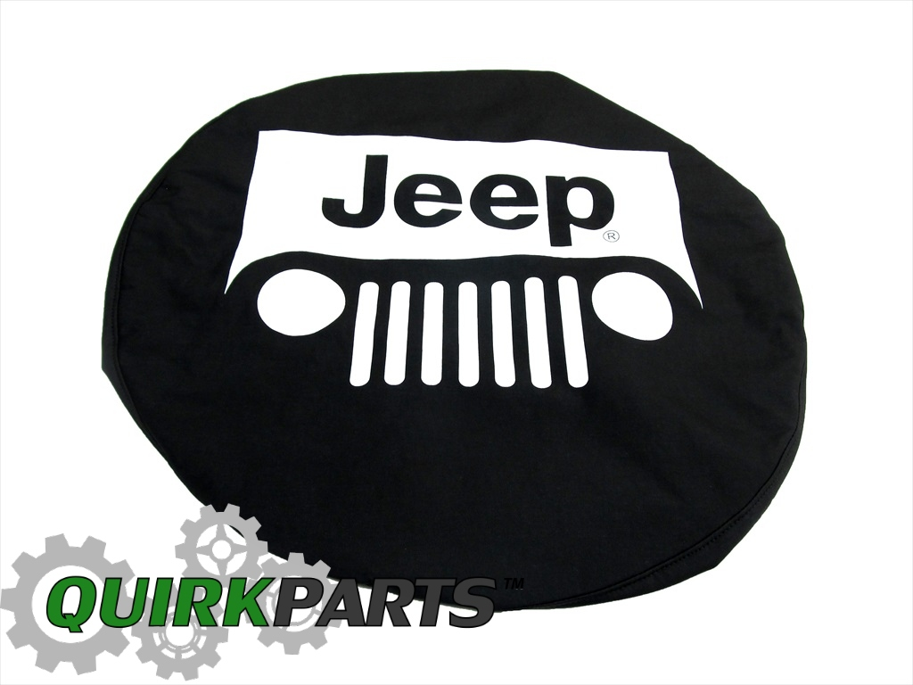Genuine Jeep Accessories 82209953AB Cloth Spare Tire Cover with White Jeep Logo