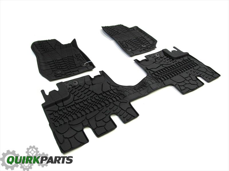 14 17 jeep wrangler 4 door right hand drive all weather slush floor mats oem new. Black Bedroom Furniture Sets. Home Design Ideas