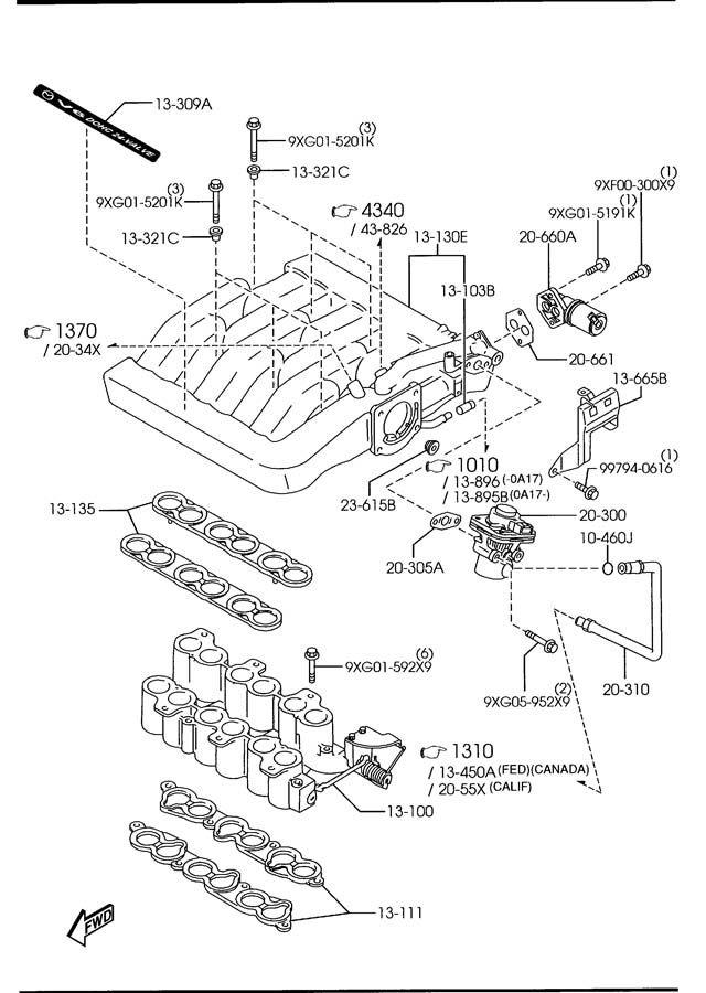 2000 2001 mazda mpv gasket intake manifold oem new